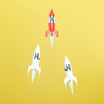 Группа игрушечных космических кораблей, ракет. 3d рендеринг