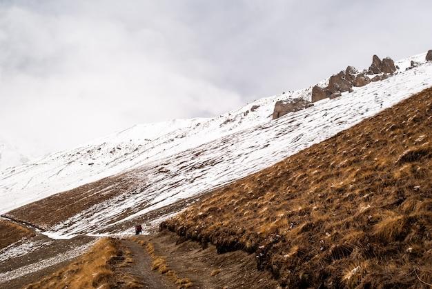 旅行者のグループはヒマラヤの歩道を歩きます