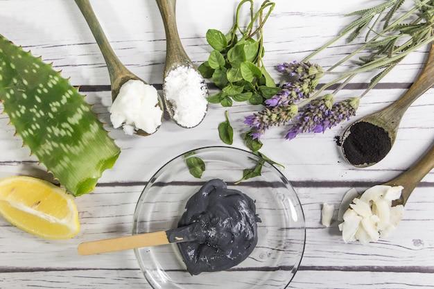 Группа растительных ингредиентов для изготовления натуральной косметики с активированным углем