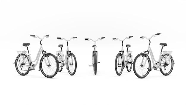 Группа белых велосипедов, стоящих в полукруге, 3d иллюстрация