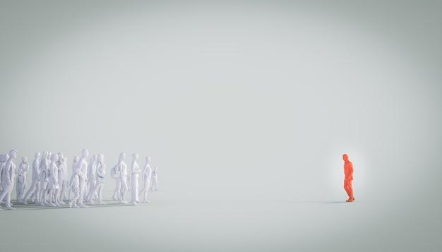 Группа белых людей смотрит на красного человека. понятие лидера, различия. 3d визуализация.
