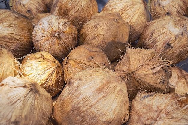 Группа целых коричневых кокосов. вид сверху. фото с избирательным мягким фокусом и малой глубиной резкости.