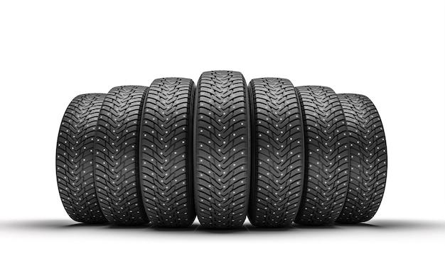 화이트에 겨울 타이어의 그룹입니다. 3d 렌더링입니다.