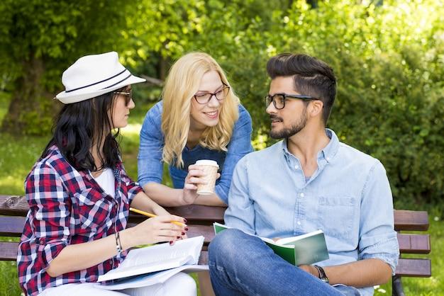 Группа молодых студентов колледжа веселится, обсуждая домашнее задание на скамейке в парке