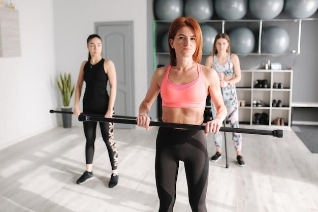 ピラティスを練習している若いスポーティな魅力的な女性のグループ。一緒に立っている人。ワークアウト