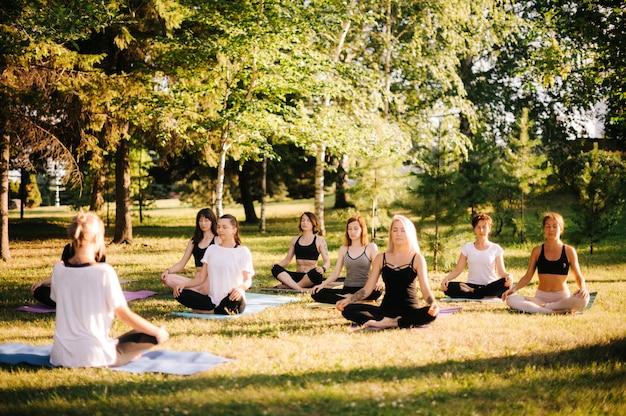 한 무리의 젊은 여성들이 강사의 지도 하에 여름 화창한 아침에 공원에서 명상을 하고 있습니다. 야외에서 소녀 그룹은 눈을 감고 푸른 잔디에 요가 매트에 연꽃 포즈에 앉아있다