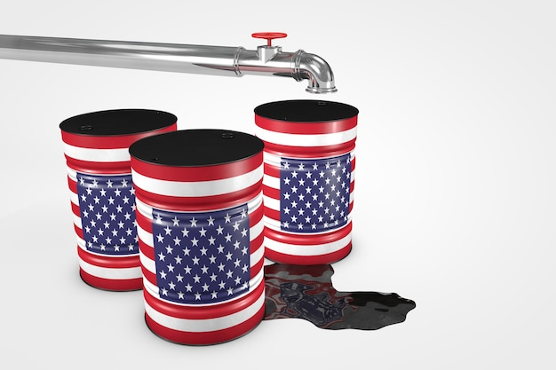 Group of oil barrels from countries of the world isolated on a white background 3d illustration