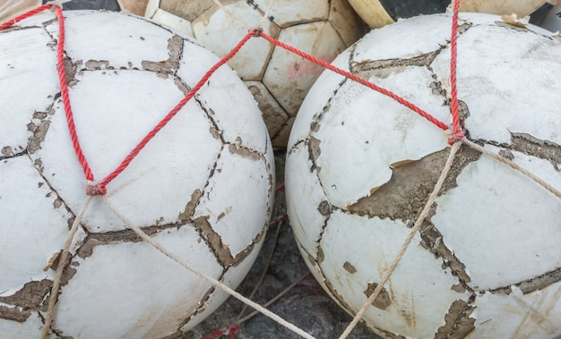 Group of old football .