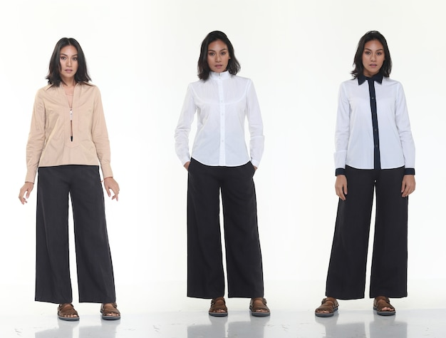 Group pack collage of asian tanned skin 20s slim woman black hair stand fashion posing in casual dress clothes, full length snap studio lighting white background isolated