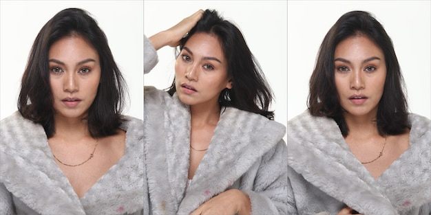 Group pack collage of asian tanned skin 20s slim woman black hair stand fashion posing in casual dress clothes, portrait snap studio lighting white background isolated