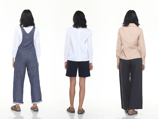 Group pack collage of back side view of asian tanned skin 20s slim woman black hair stand fashion posing in casual dress clothes, full length snap studio lighting white background isolated