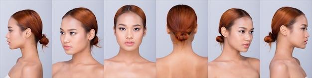 Групповой коллаж из красивой чистой кожи азиатской женщины с прямыми черными волосами с руками, руками, пальцами, лицом, поза открытыми плечами, улыбкой, студийным освещением, белым фоном, копией пространства, для показа 360 вокруг модели