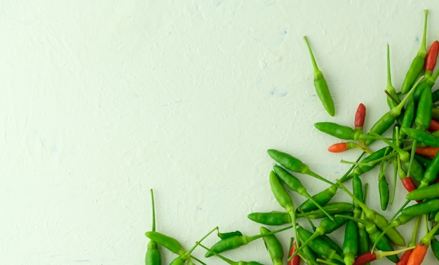 Group of  paprika on wooden background with copyspace