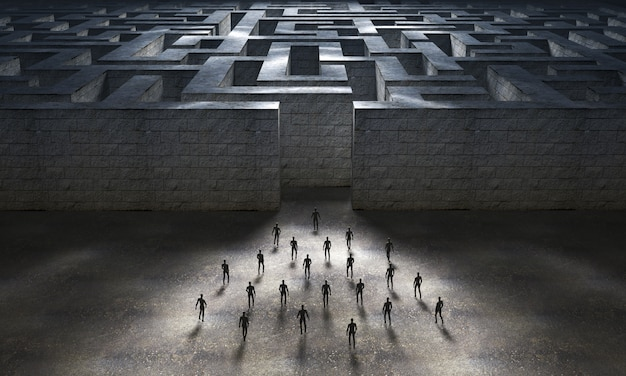 Group of people heading towards the entrance to a large labyrinth