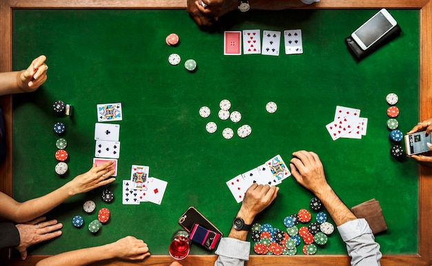 Group of people playing poker