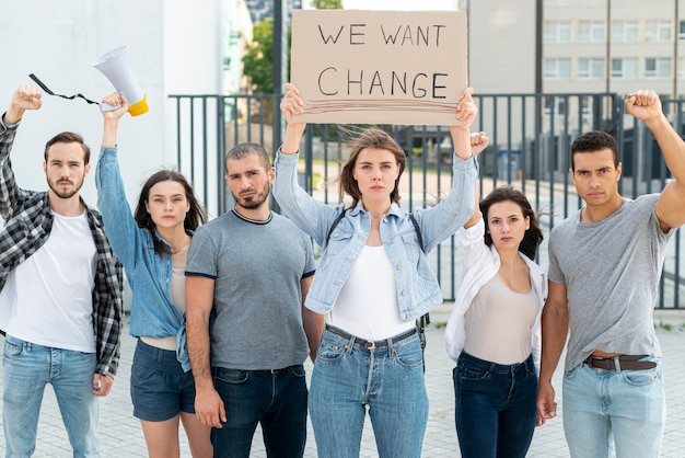 Group of people protesting for change