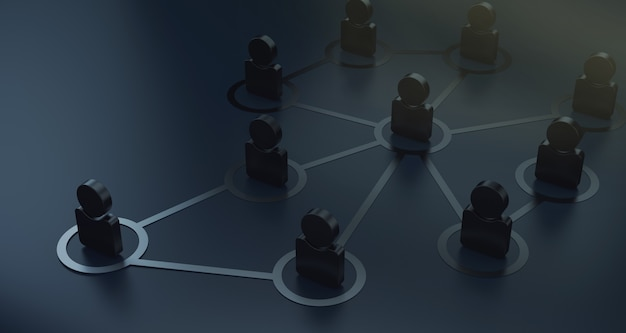 Group of people talking in social network 3d render