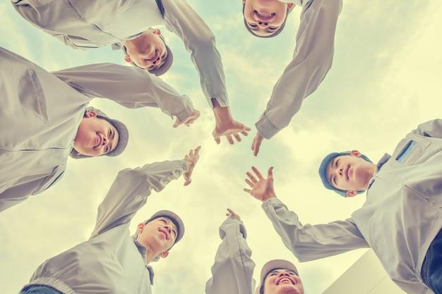 Group people teamwork union  hand community