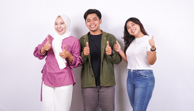 Group of people thumbs up isolated white background