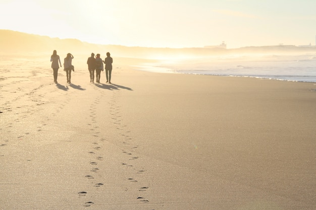 Group of people walking in beach in sunset