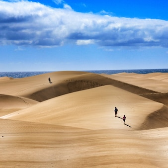 Group of people walking over sand dunes under a cloudy sky