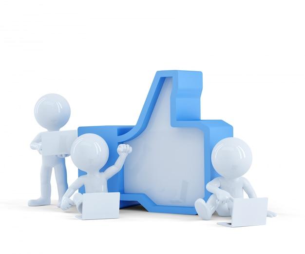 Gruppo di persone con simbolo like. concetto di rete sociale