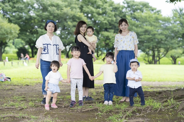 Group photo of asian families