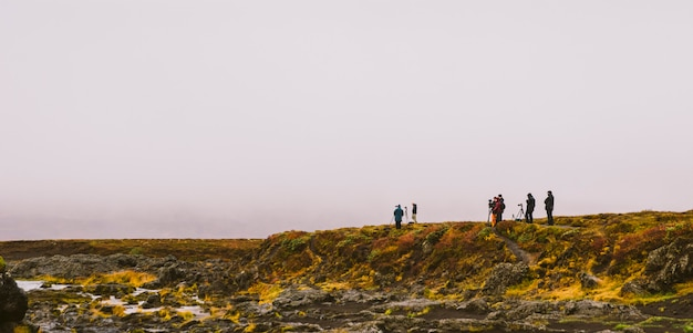 Group of photographers on a mountain