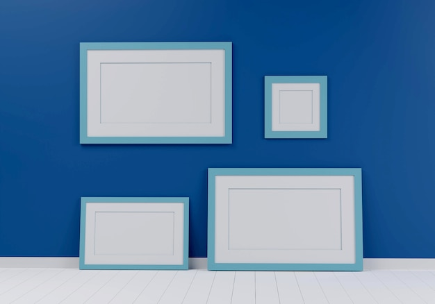 Group of picture frame on the blue wall. 3d render.