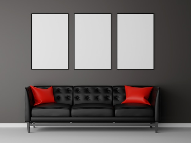Group of picture frame mock up with black sofa in living room. 3d rendering.