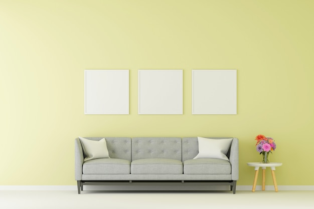 Group of picture frame mock up with sofa in living room. 3d rendering.