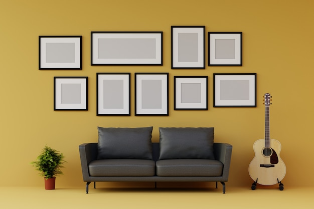 Group of picture frame on the wall with sofa and furniture in modern yellow living room. 3d render.