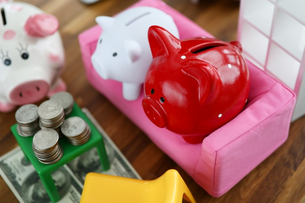 Group of piggy bank sit on sofa in house doll background