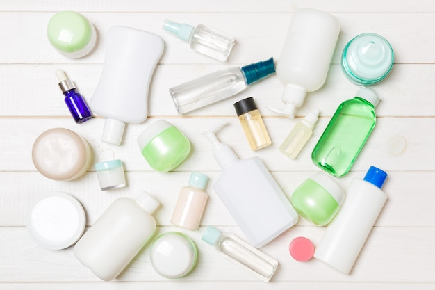 Group of plastic bodycare bottle composition with cosmetic products