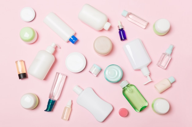 Group of plastic bodycare bottle flat lay