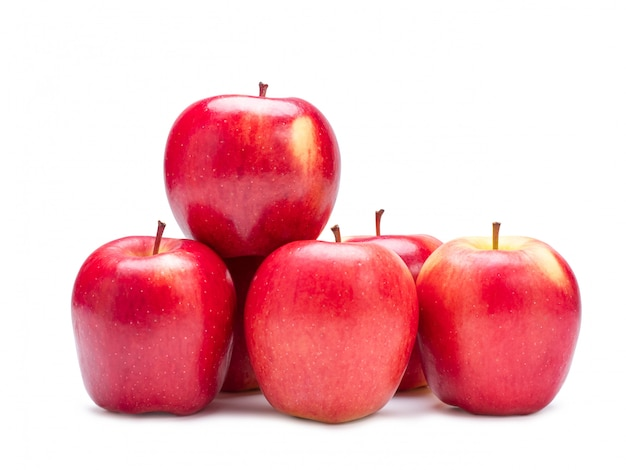 Group of red apple isolated on white wall with clipping path.