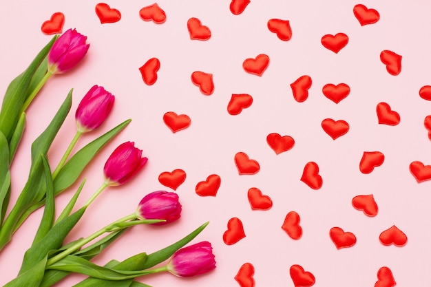 A group of red fresh tender tulips with green leaves lie on a pastel pink background with small hearts