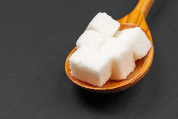 Group of refined white sugar cubes