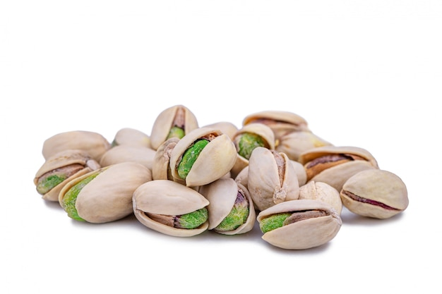 Group of salted isolated pistachio