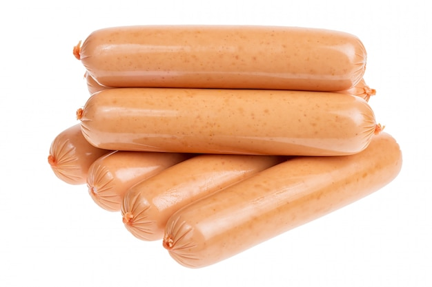 Group of sausages isolated on white background