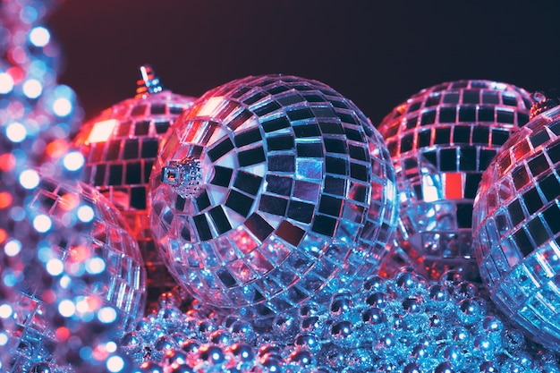 Group of shiny disco balls