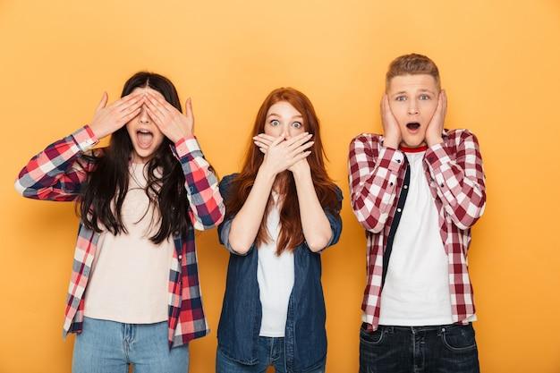 Group of shocked school friends