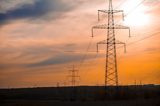 Group silhouette of transmission towers