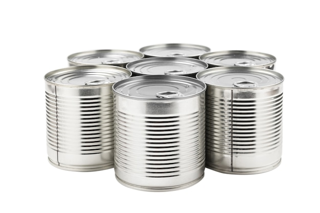 Group of silver canned food on white background.