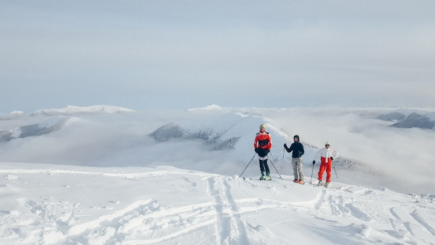 Group of skiing tours