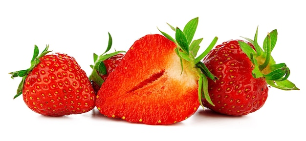Group of strawberries with leaves isolated on a white background.