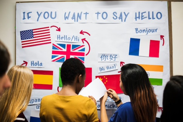 Group of students at languages display