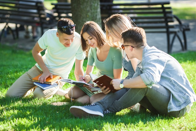 Group of students learning a lesson outdoors. students reading text books or tutorial. youth studying in the park.
