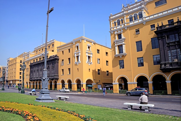 Group of stunning colonial buildings on plaza mayor square, the historic centre of lima, peru, south america