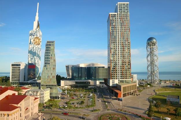 Group of stunning skyscrapers, the iconic landmark of batumi city, adjara region, georgia